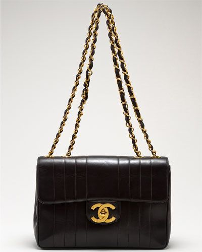 Chanel Black Jumbo Vertical Lambskin Flap Bag - please and thank you.