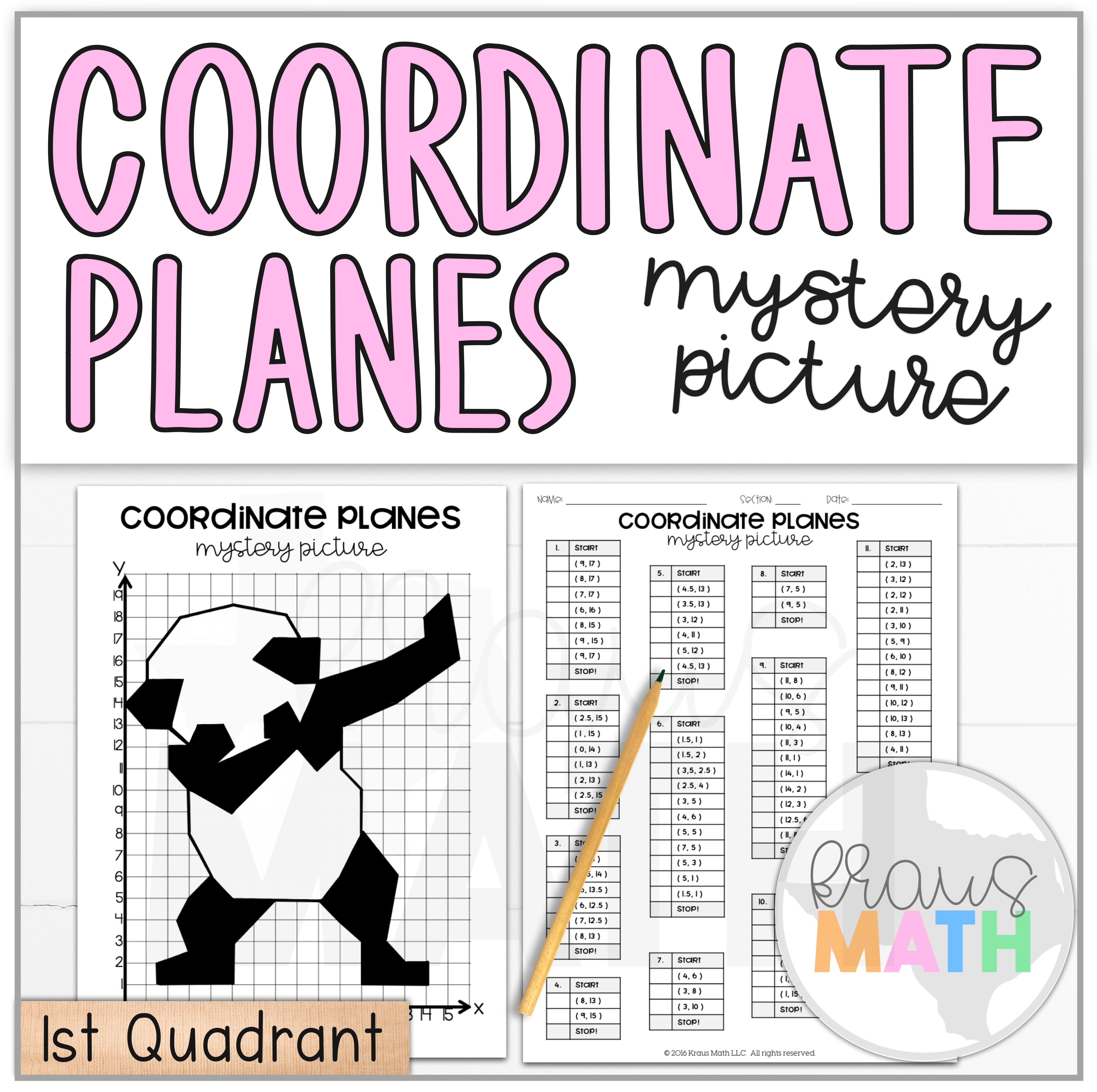 Panda Dab Coordinate Planes Activity 1st Quadrant With