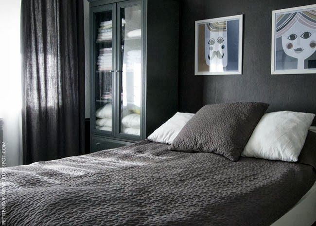 dark black grey wall bedroom with grey curtains and alina ikea