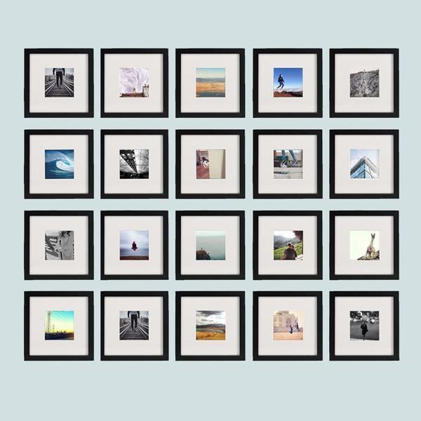 20 Pack Black 8x8 Photo Frame 4x4 Matted 8x8 Photo Frame