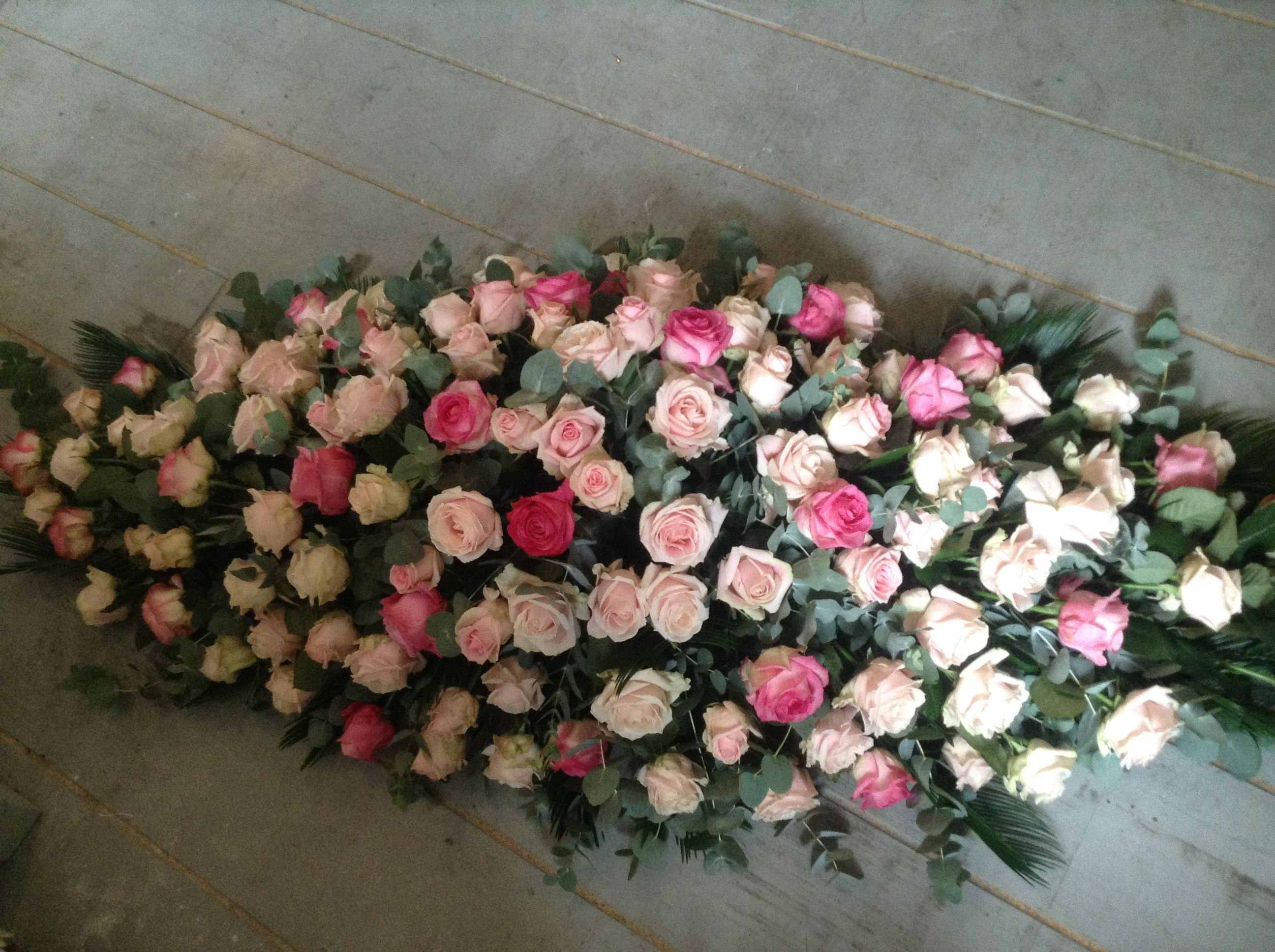 Mixed pink rose coffin spray rose funeral flowers pink casket mixed pink rose coffin spray rose funeral flowers pink casket spray dhlflorist Choice Image