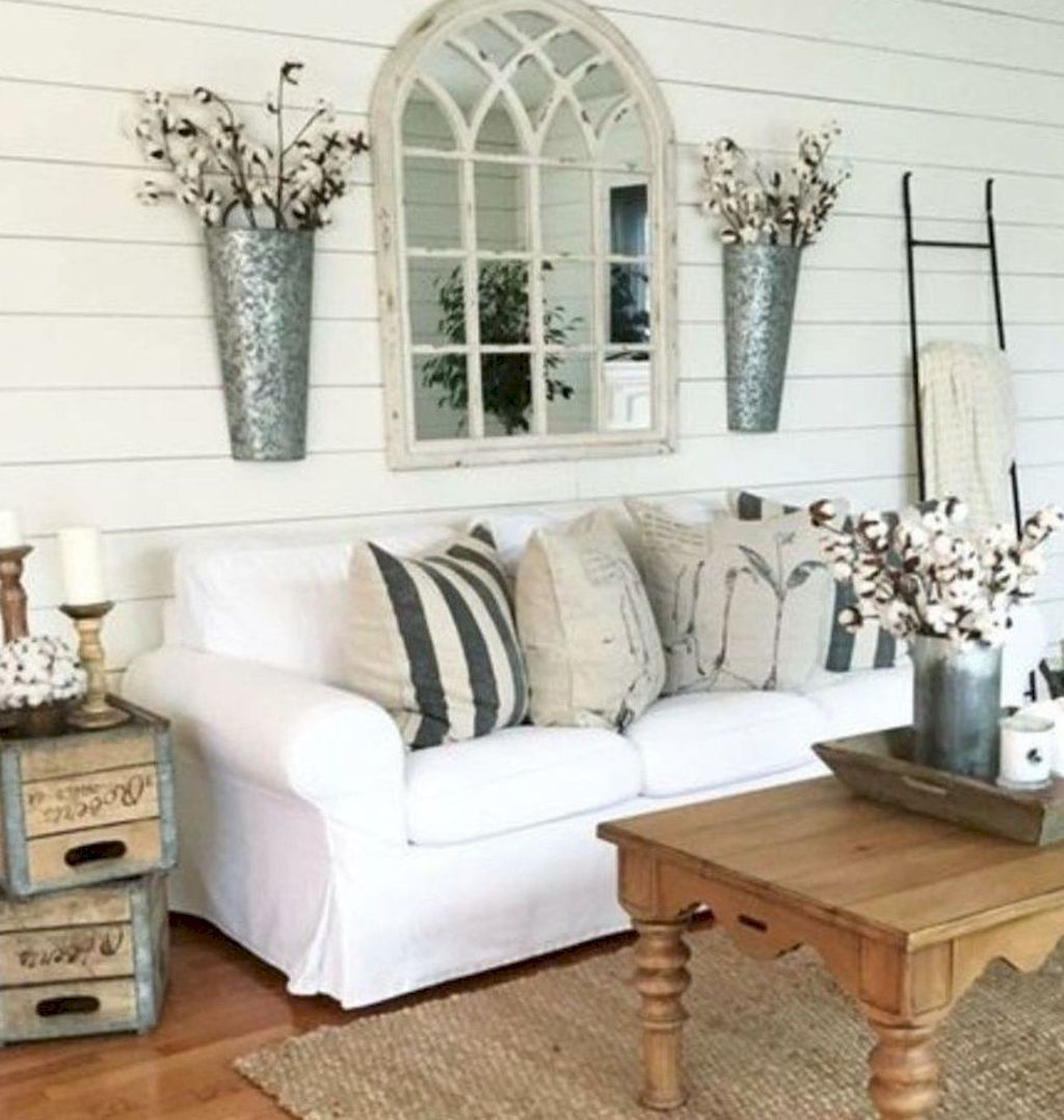 beautiful french country living room ideas also rustic arch mirrors with hanging planters modern farm house rh pinterest