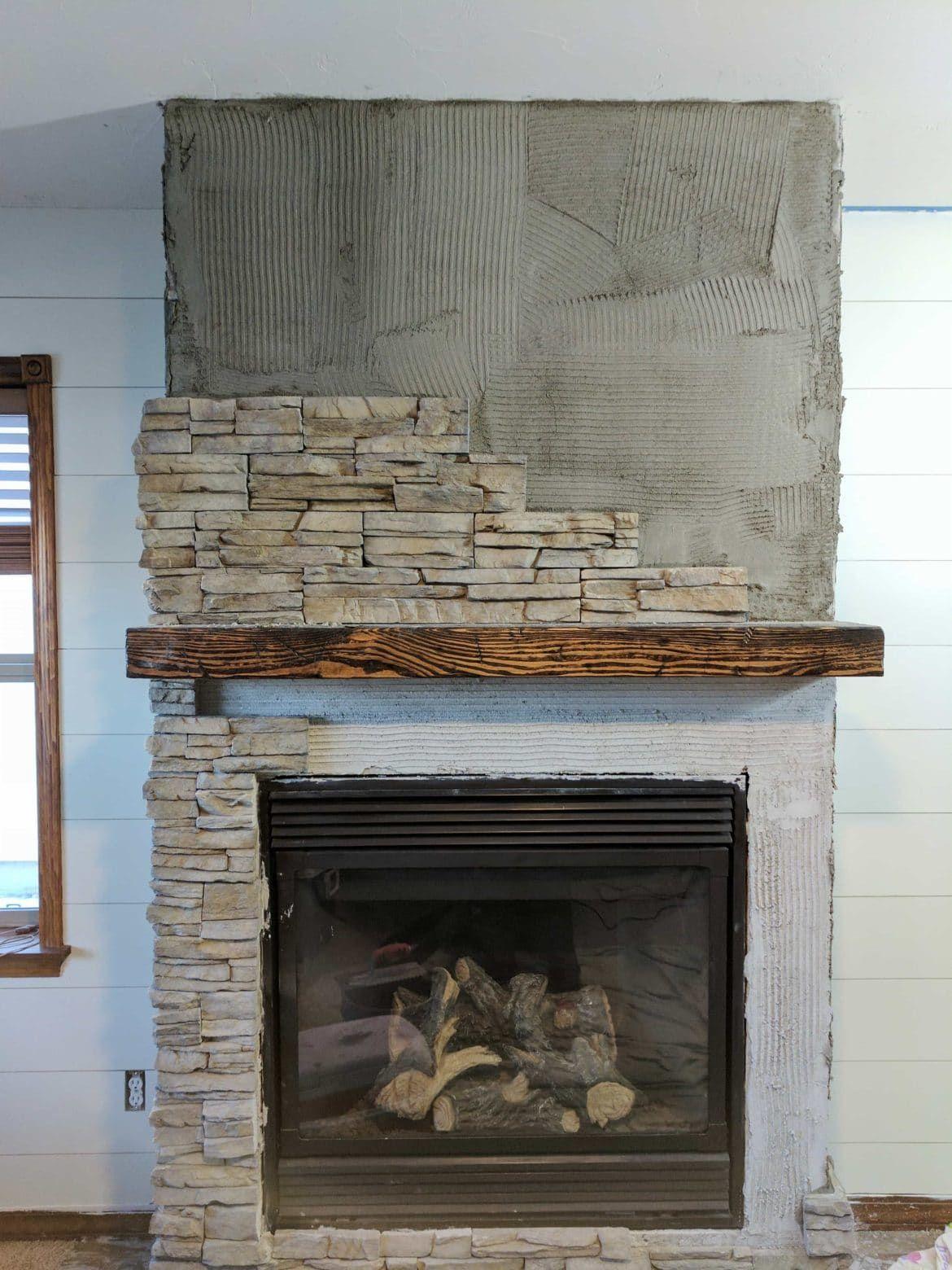 Stacked Stone Fireplace Remodel | Installing Stone Veneer