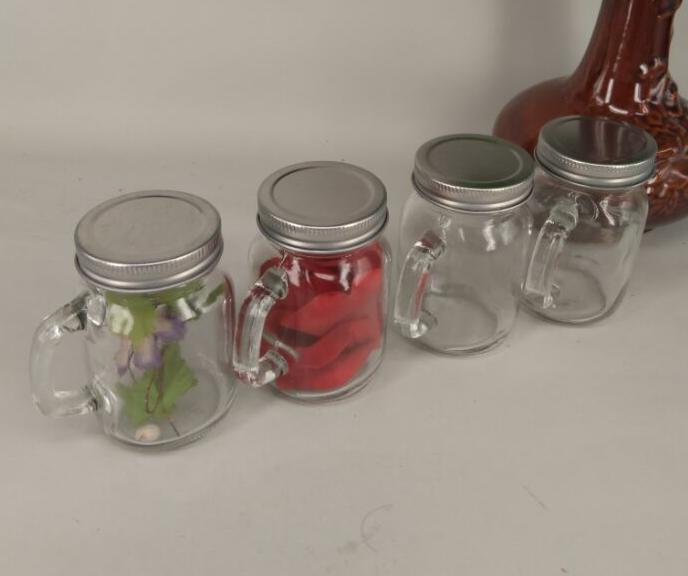4oz 120ml Mini Glass Mason Jar With Handle With Lids Baolin Glass Supply Best Glass Bottle Worl Mason Jars With Handles Glass Mason Jars Mason Jars