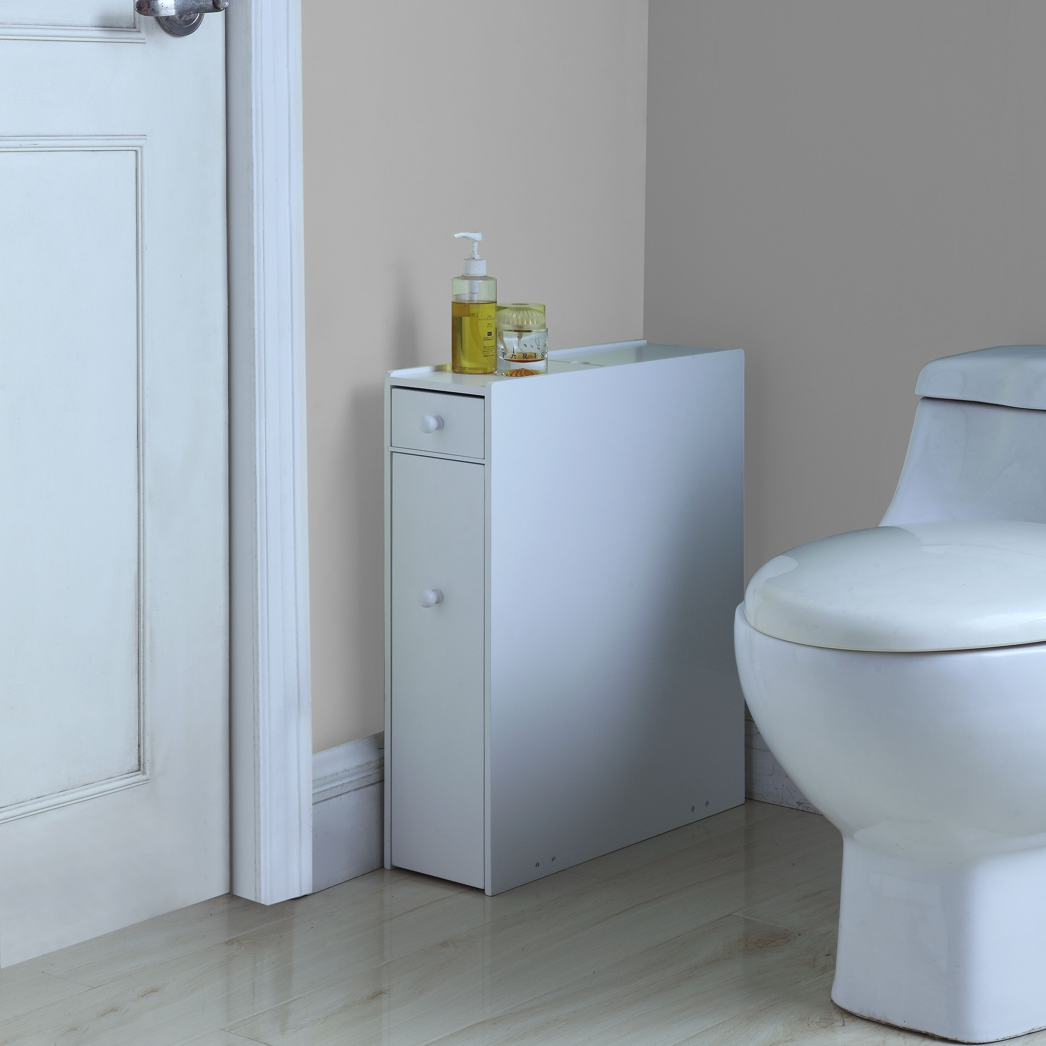 Brighton White Wood Bathroom Floor Cabinet (Bathroom Floor ...