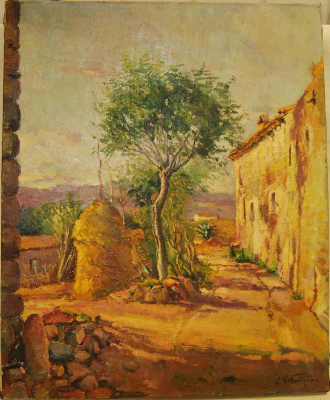 La firma seguramente corresponde al orfebre, pintor y dramaturgo barcelonés Juli Vallmitjana (1873 - 1937).