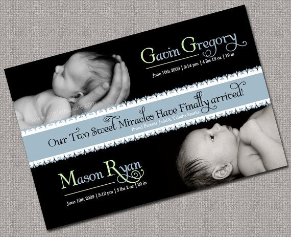 Send out this twin baby announcement to your family and friends as – When to Send Baby Announcements