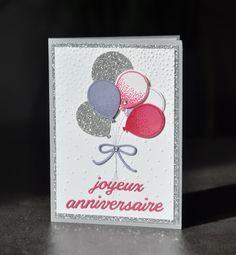 Carte d'invitation anniversaire bouquet de ballons et Thinlits boîte à pâtisserie   Carte ...