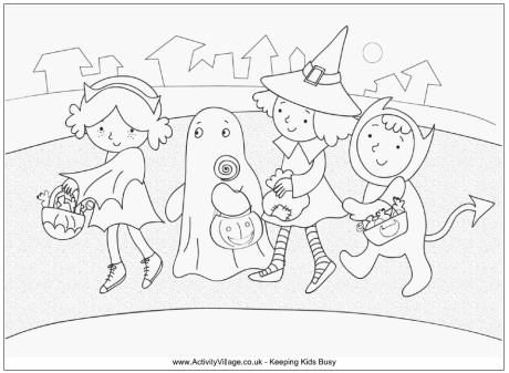 Kids Trick Or Treating Colouring Page Halloween Coloring Witch Coloring Pages Halloween Coloring Pages