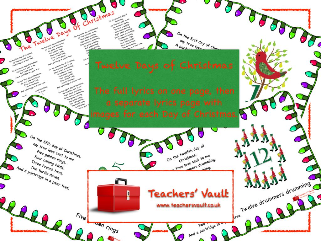 Twelve Days of Christmas Lyrics Posters Christmas lyrics