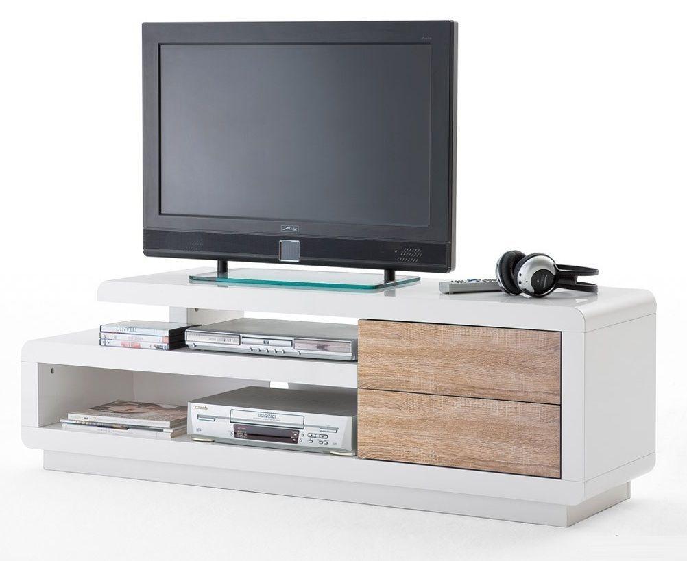 Meuble TV design Alice laqué blanc/bois 146 cm | Idées salon | Pinterest