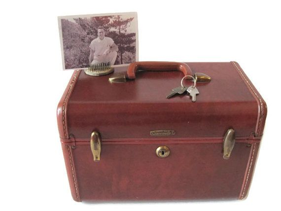 1950s Samsonite Train Case With Keys  Brown Luggage by Relic189, $25.00