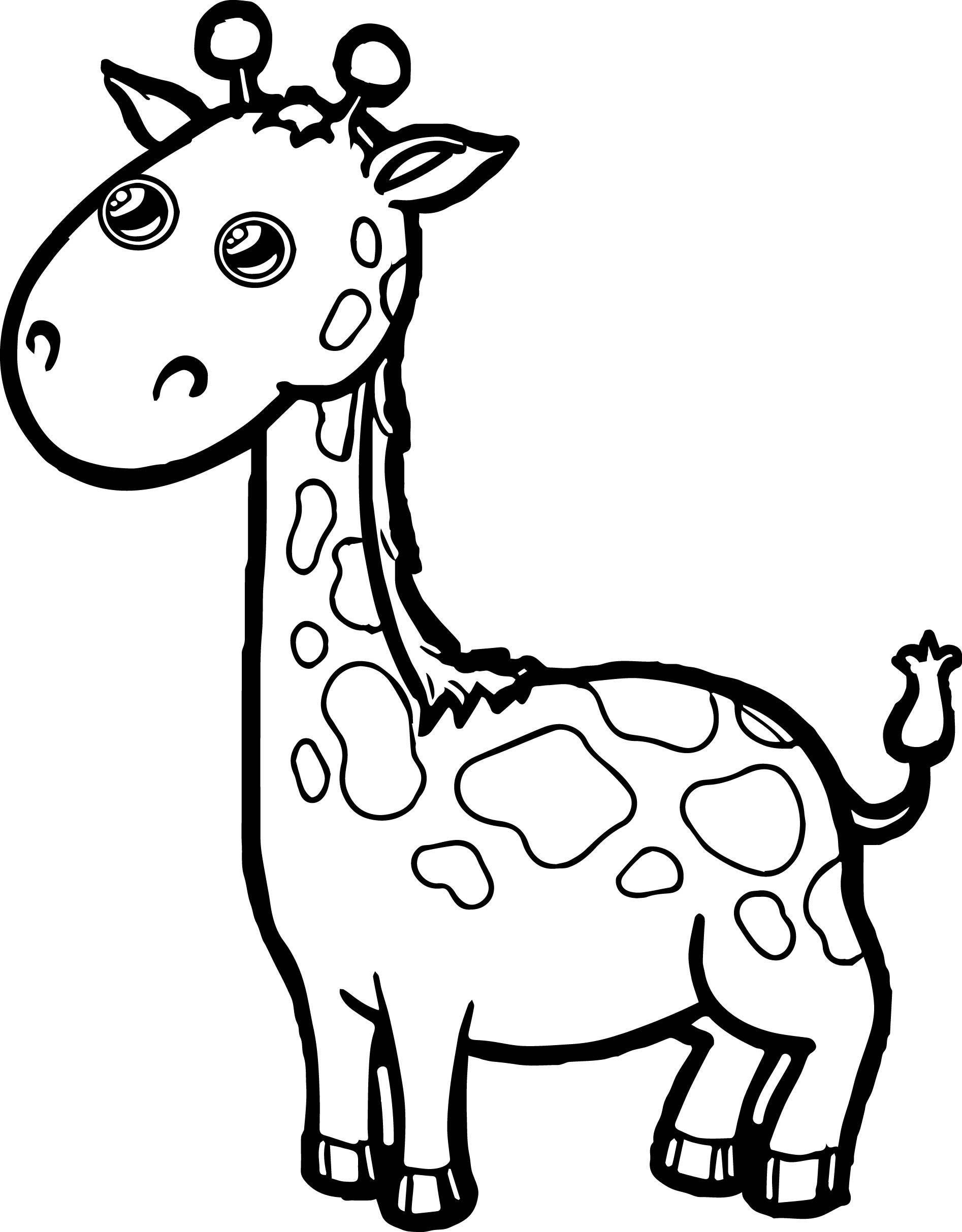 Zoo Giraffe Cartoon Coloring Page