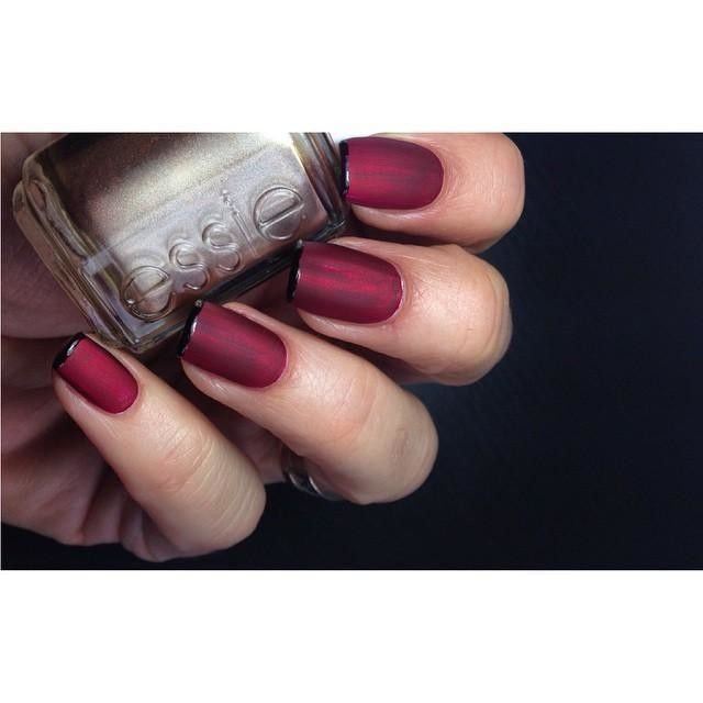 beautiful nail art with essie shades bordeaux and penny talk with a ...