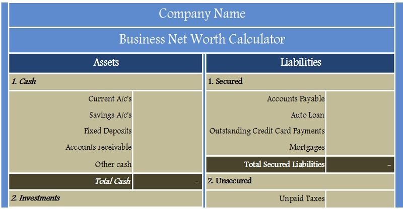 Download Business Net Worth Calculator Excel Template  Financial
