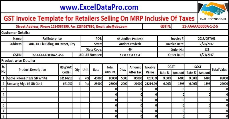Download GST Invoice Format For Selling Goods On MRP Inclusive Of - Format invoice excel best online jewelry store