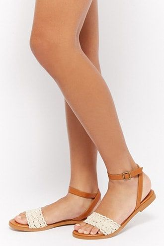 ddb8be25936 Scalloped Crochet-Strap Sandals