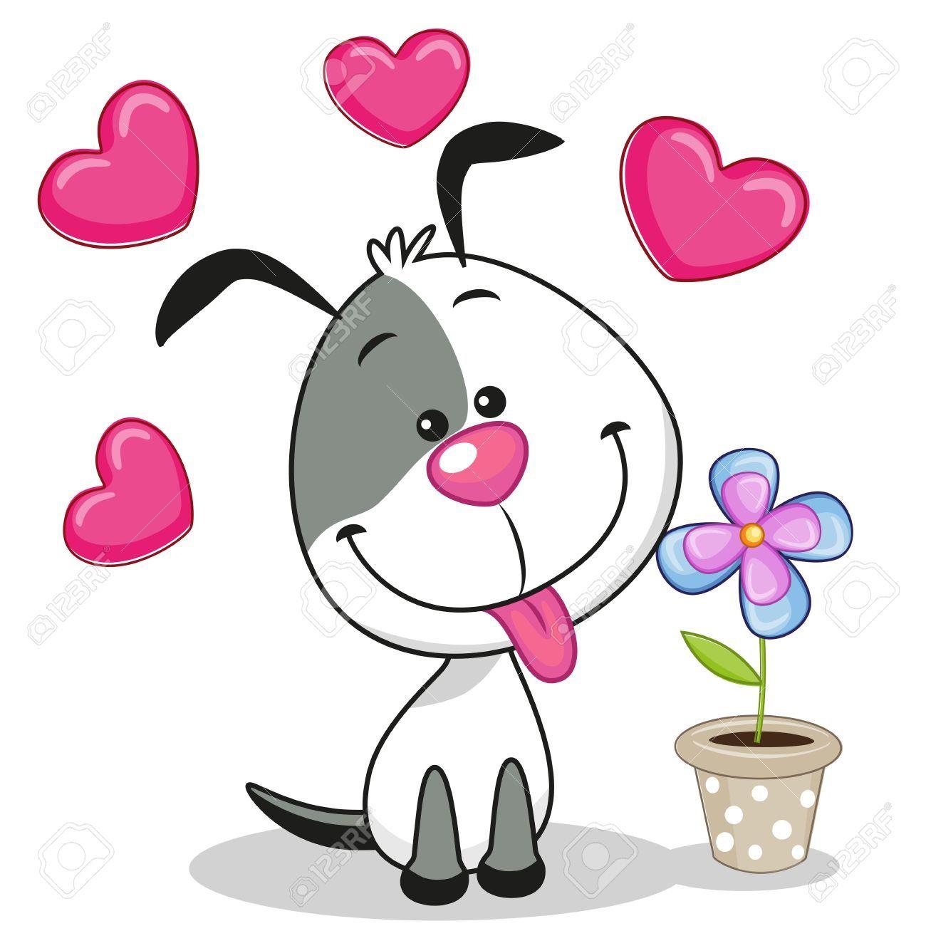 Greeting Card Dog With Heart And Flower Illustration Sponsored Dog Card Greeting Illustration F Schattige Tekeningen Schattige Kunst Kaartje Maken