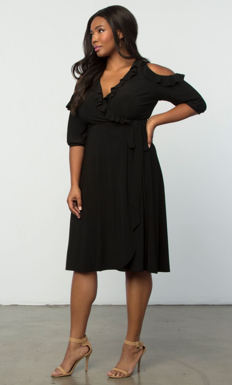 16ad6bded6e Barcelona Wrap Dress - Black  plussize  dress  littleblackdress Shop  www.curvaliciousclothes.com