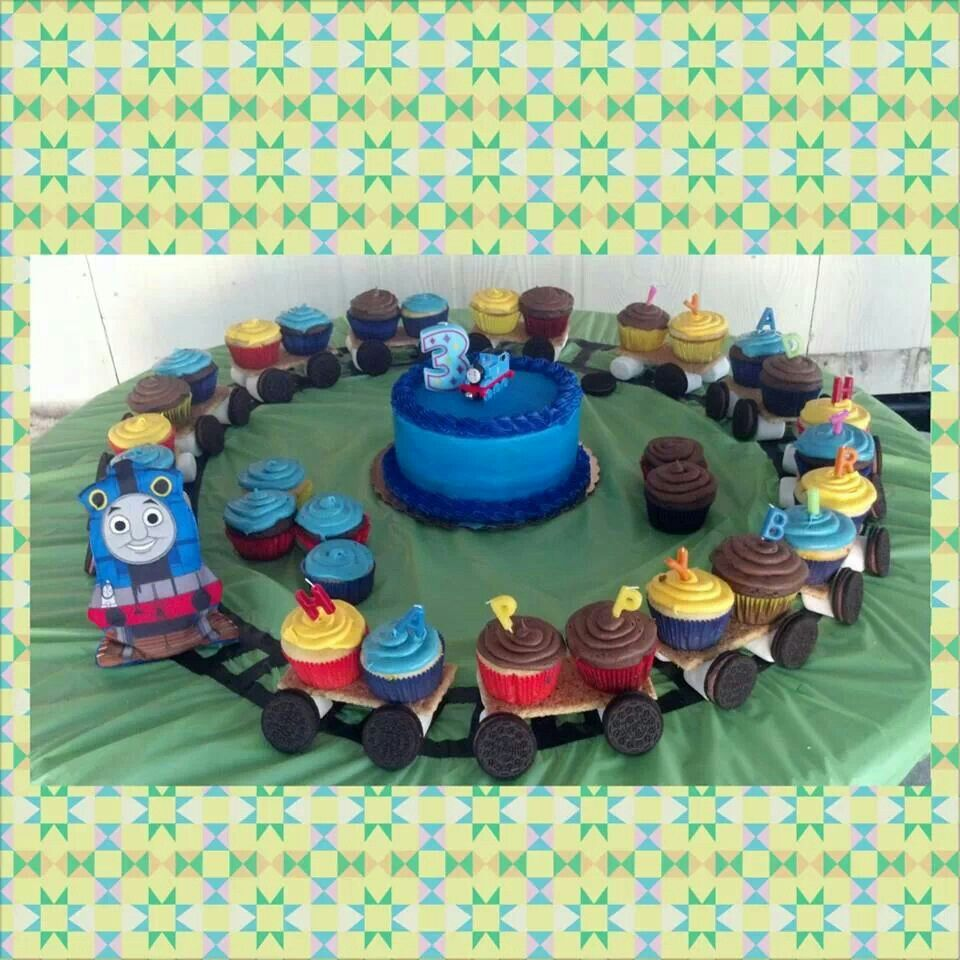 Thomas The Train Cupcakes By Cakes Gabriela Of Houston TX 1 Year Old Birthday
