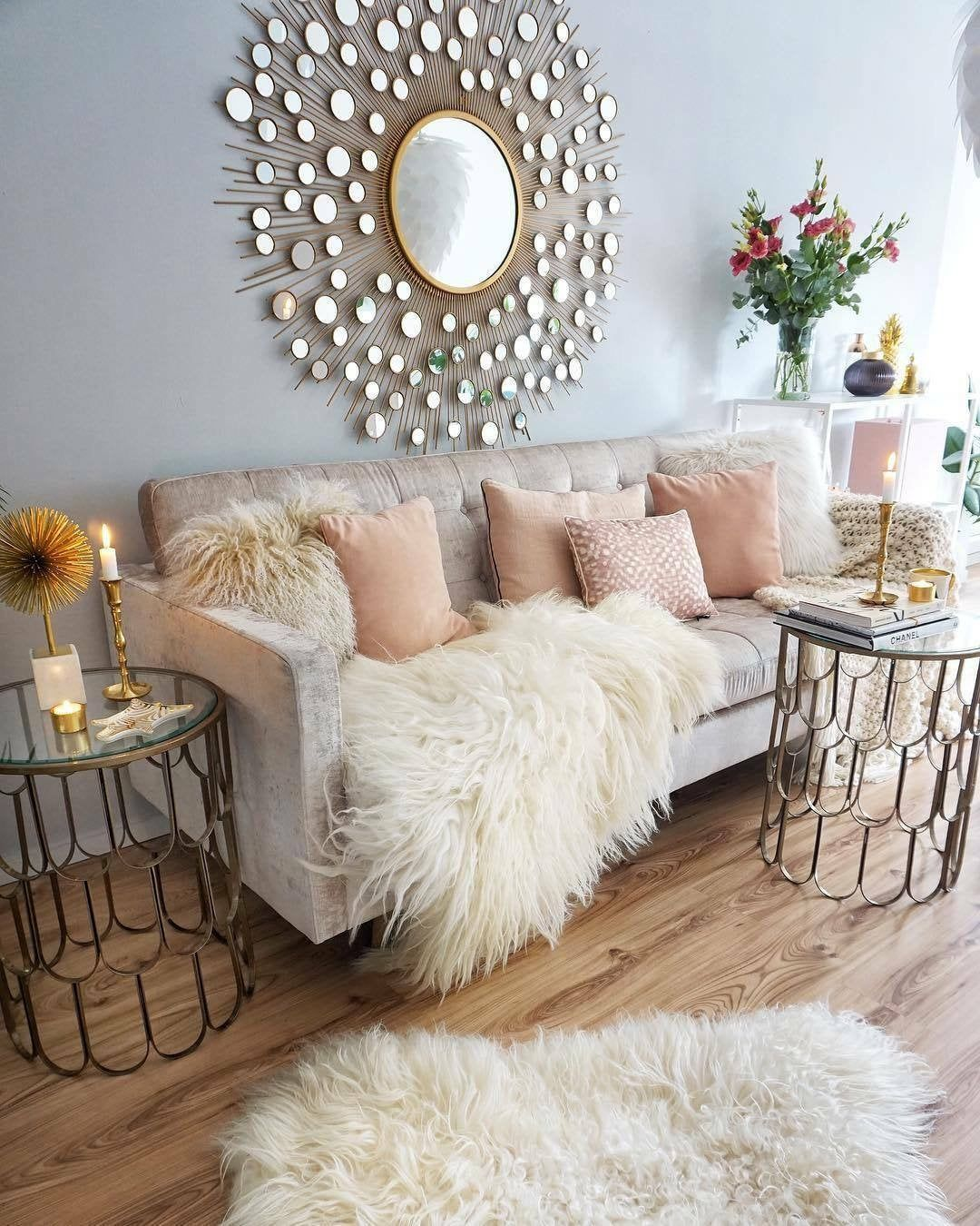 Mongolian Sheepskin Rug Genuine Curly Icelandic Long Wool Cream White Ivory In 2021 Living Room Decor 2018 Glam Living Room Living Room Decor Apartment