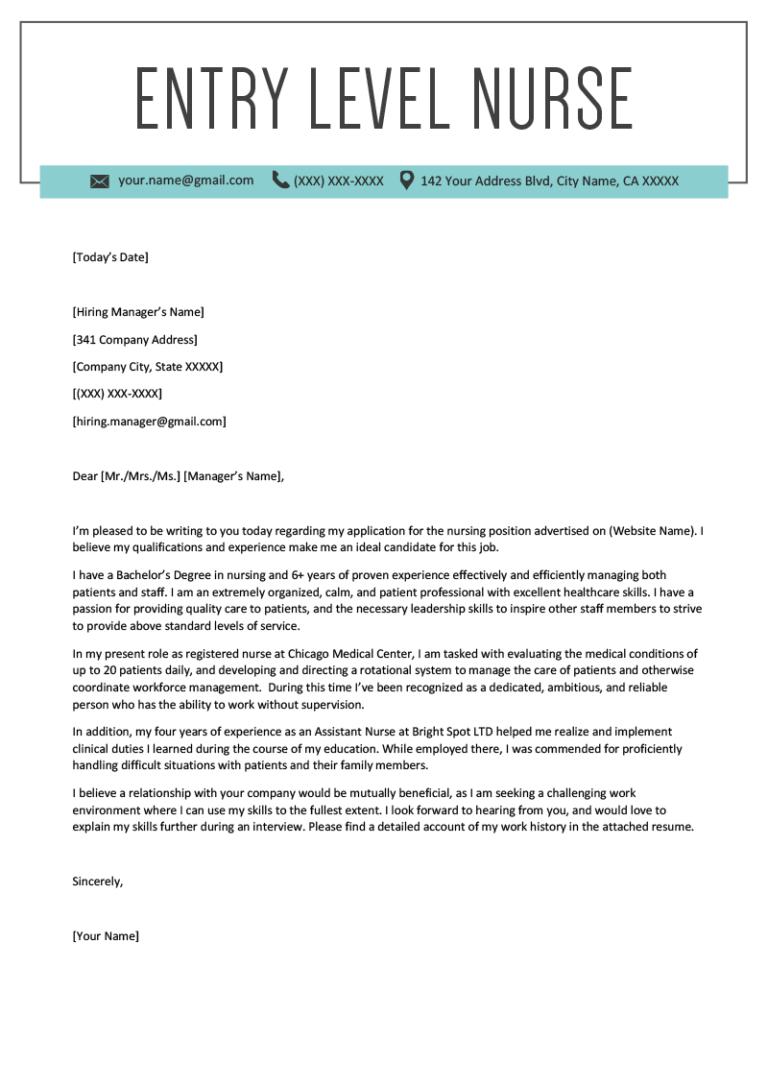 EntryLevel Nurse Cover Letter Sample Cover letter