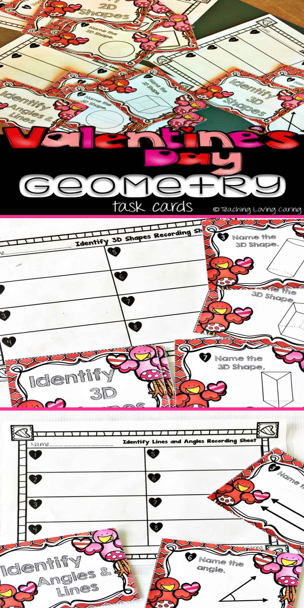 Valentine S Day Geometry Task Cards