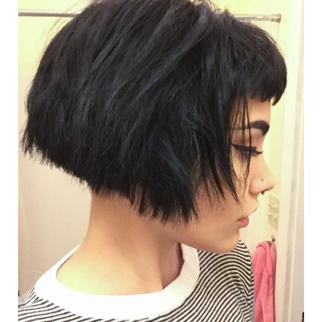 Triangle one length bob with bangs and inch undercut by