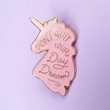 Unicorn Day Dreams Lapel Pin - Pink Iridescent Glitter ...
