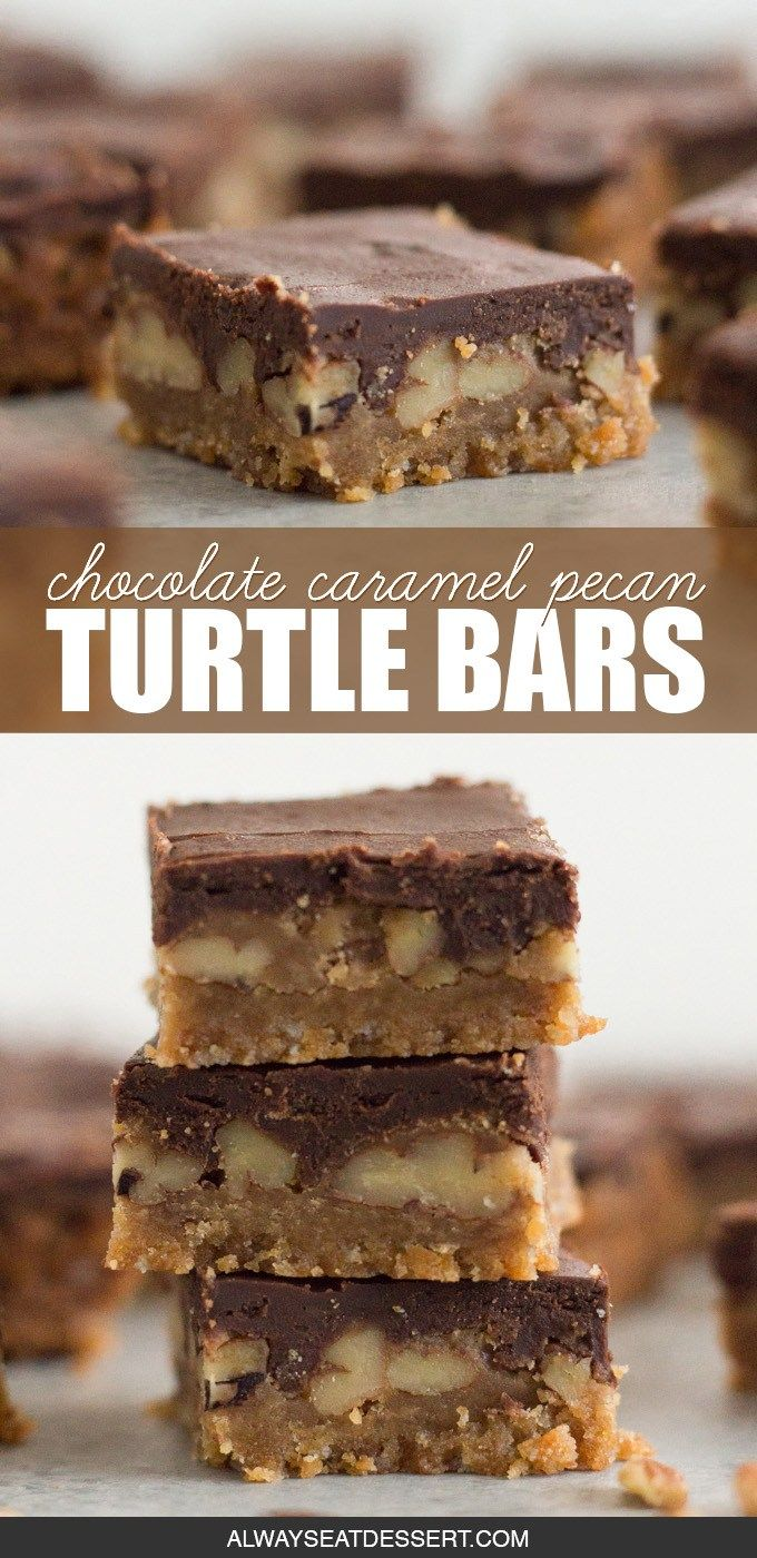 Buttery shortbread Rich caramel Crunchy pecans Creamy chocolate These chocolate caramel pecan turtle bars have it all Plus youll be surprised just how easy they are to ma...