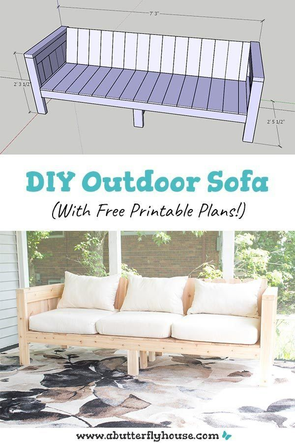 Diy Outdoor Sofa With Free Printable Plans Outdoor Sofa Outdoor Couch Diy Diy Furniture Plans