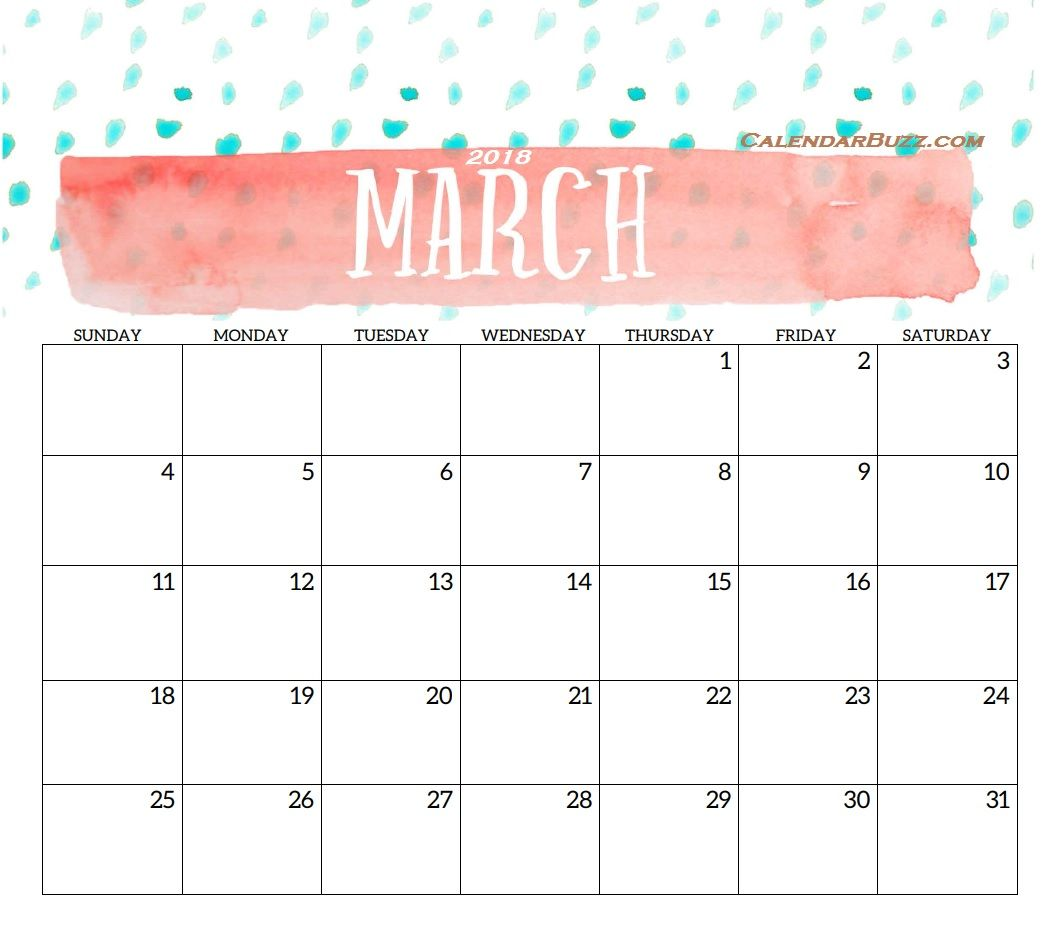 March 2018 Printable Template Maxcalendars Pinterest Template