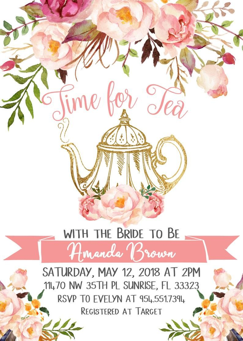 Time For Tea With The Bride To Be Tea Party Bridal Shower Etsy Tea Party Bridal Shower Invitations Bridal Shower Tea Bridal Tea Party