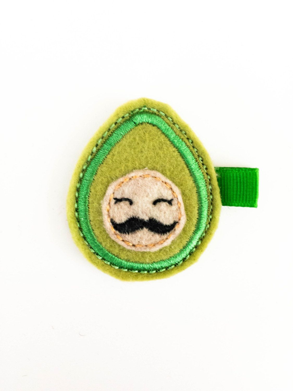 Mr Avocado Felt hair clip / baby hair clip /  girl hair clip . by soCuties on Etsy