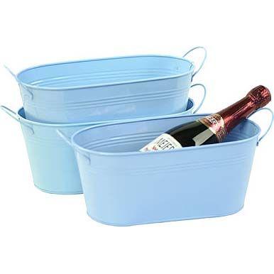 12 Inch Oval Tin Tub Galvanized Light Blue Tin Tub Galvanized Light Tub