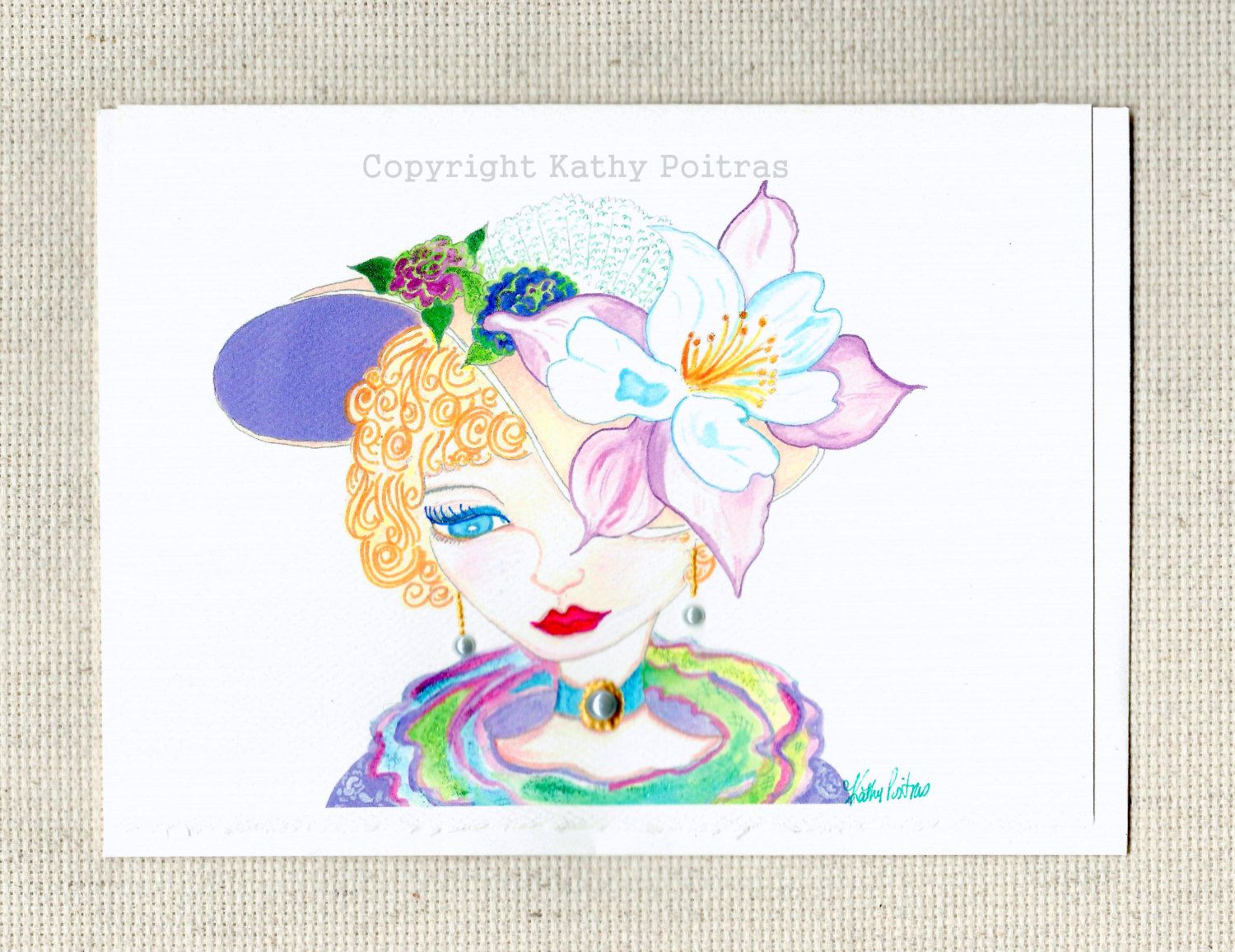 Princess Dianna hat greeting card. Victorian hat greeting card, derby hat greeting card. Whimsical hat and lady greeting card. hand detailed by PiskyArt on Etsy