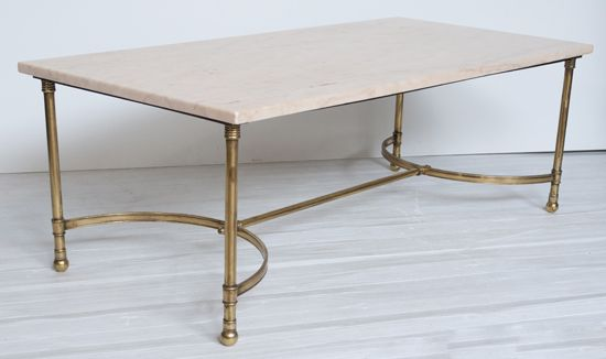 Br Coffee Table With Pink Marble Top C 1960