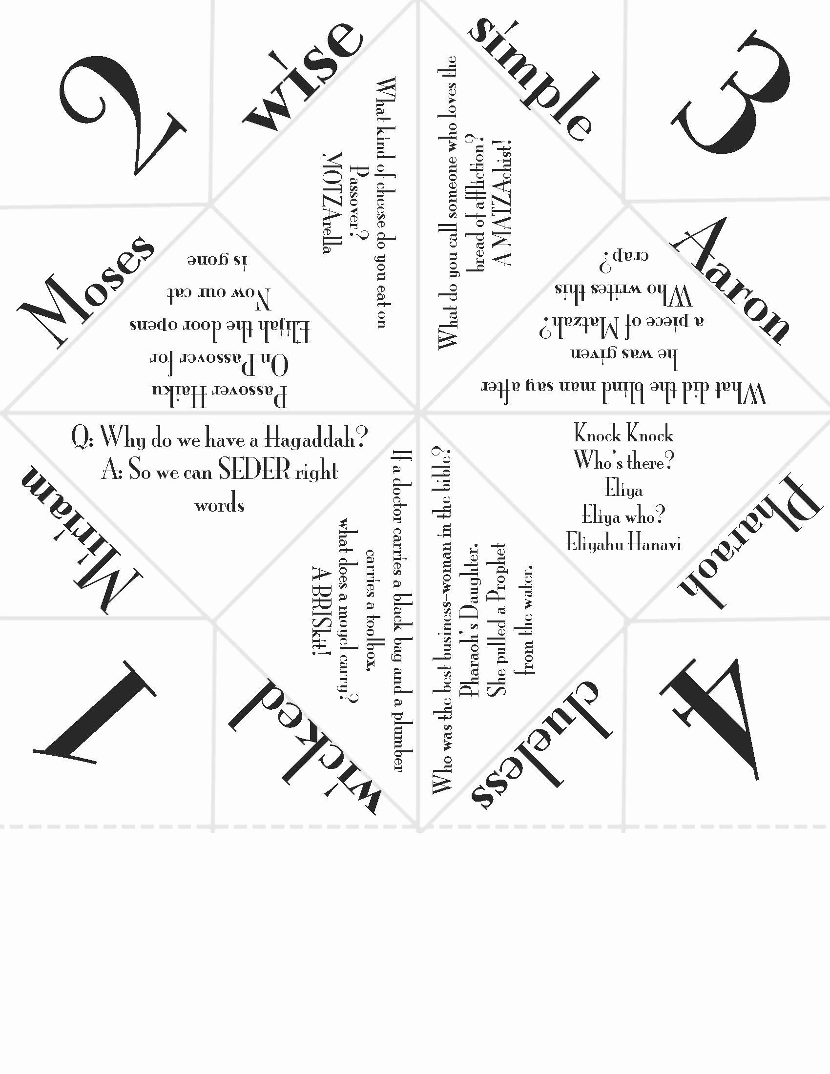 Passover Coloring Pages Free Printable Beautiful My Version Of The Pesach Cootie Catcher Passover Kids Passover Crafts Passover Printables [ 2200 x 1700 Pixel ]