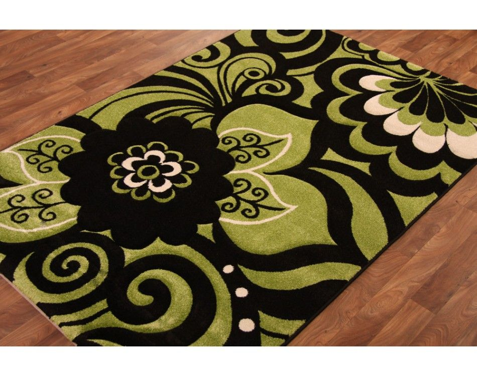 Lime Green Kitchen Rugs | Hand Carved Lime Green Black Modern Rug T140 Green  Hisar