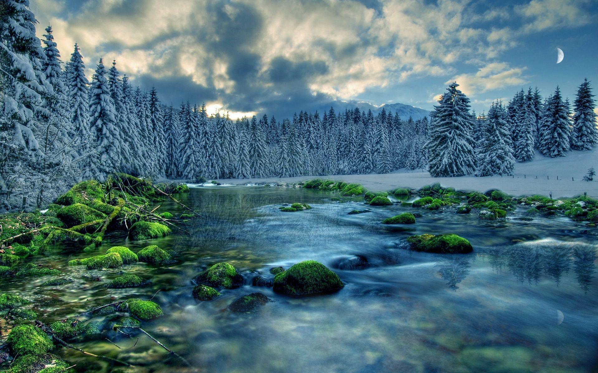 Fondo Escritorio Paisaje Nevada En Cumbre: Paisaje De Invierno, Río, Bosque, árboles, Cielo, Nubes
