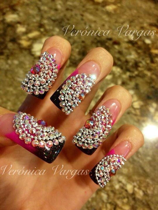 Bling Out Nails A Little To Long For Me But The Design Is Amazing