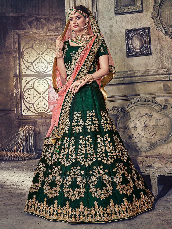 08ff3d70c720d Velvet Embroidered Lehenga Set in Dark Bottle Green #rajwadi #lehengacholi  #weddingseason #weddingdress #embroidery #lehenga #ethnicwear #bridalwear  ...