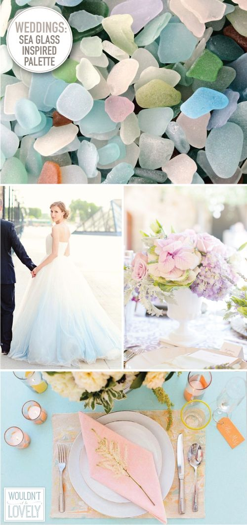 Sea glass inspired wedding palette. Spring and summer wedding color palette inspiration. Pale, pastel wedding colors