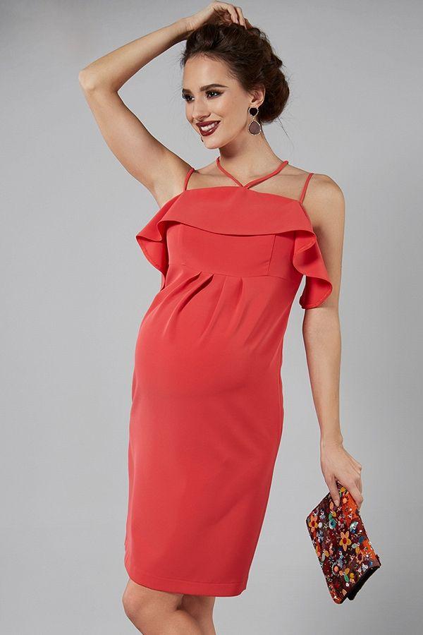 d907ca473da0 Červené elegantní těhotenské šaty na ramínka