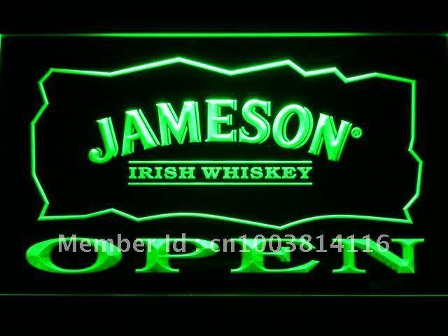 083 Jameson Irish Whiskey OPEN Bar LED Neon Sign with On