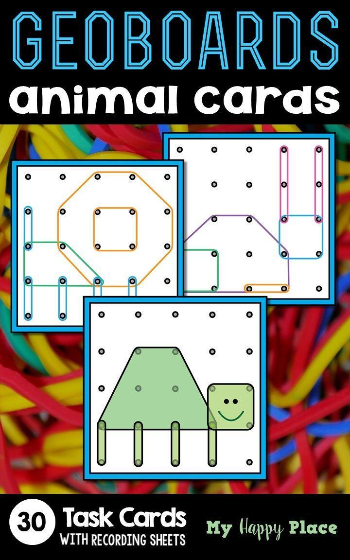 geoboards animals task cards  preschool math education