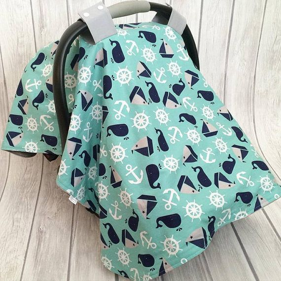 Nautical Car Seat Canopy / Baby Boy Car Seat Cover by JaybirdAndRo