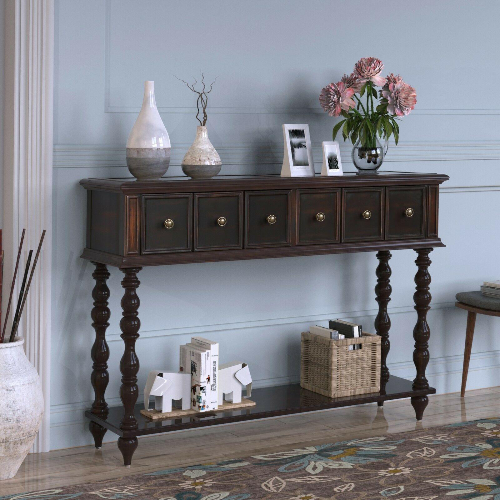Trexm 6 Drawer Console Table Shelf Hallway Side End Dressing Desk Black Sofa Table Ideas Of Sofa T In 2020 Rustic Console Tables Rustic Consoles Wood Console Table