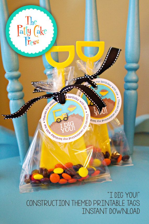 Construction Party Favor Tags Printable File Instant Download DIY Print Your Own Favors