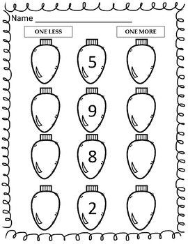 One More One Less Christmas Number Sense Worksheets Number Sense Worksheets Christmas Math Worksheets